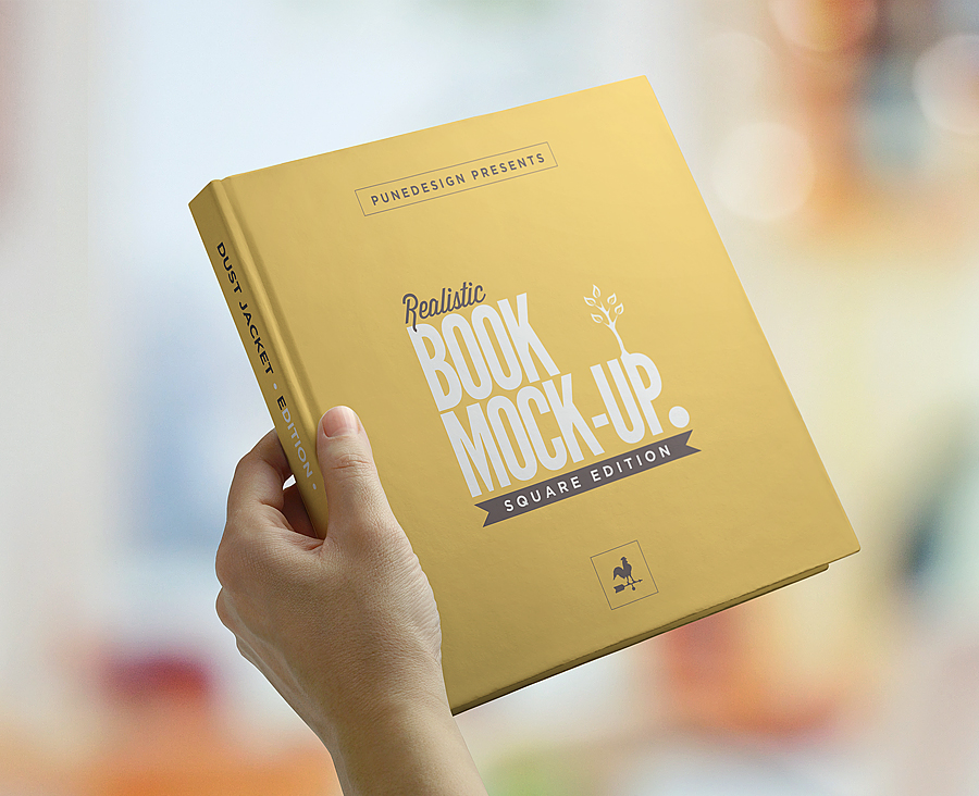 Square Book Mockup Dust Jacket