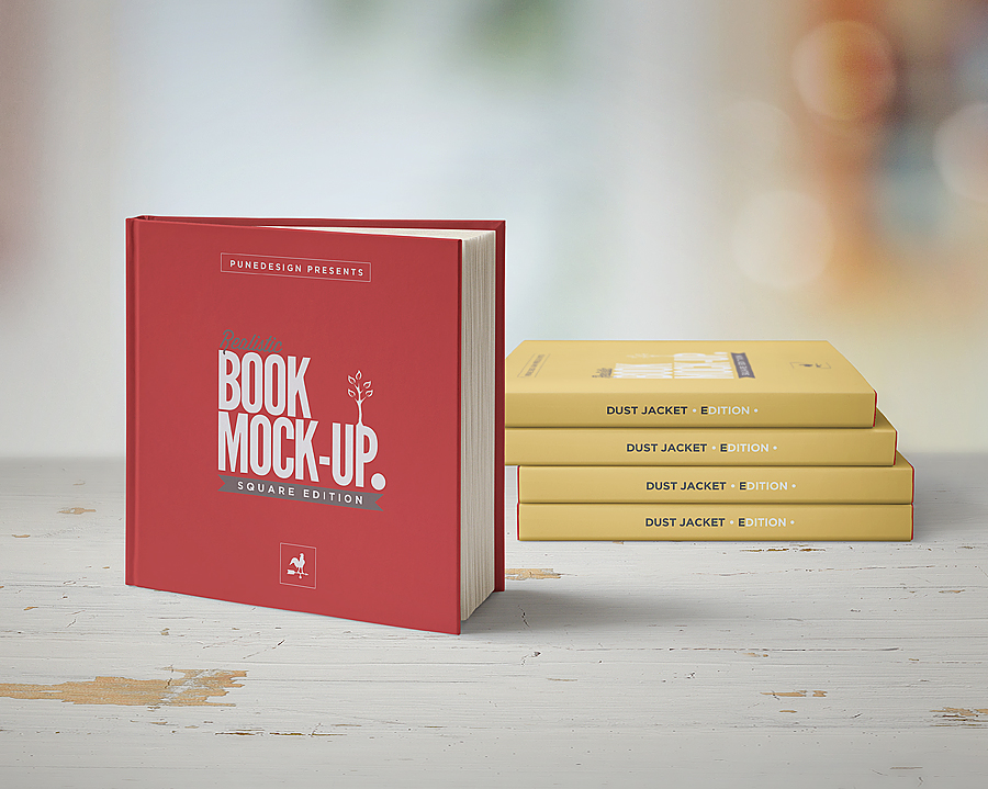square book mock-up    dust jacket