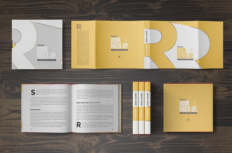 Square Book Mock-up / Dust Jacket