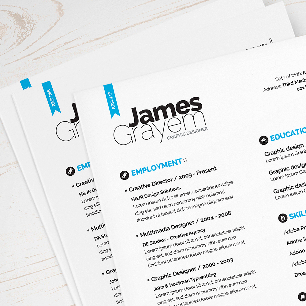 resume cv package contains customizable a4 us letter formats