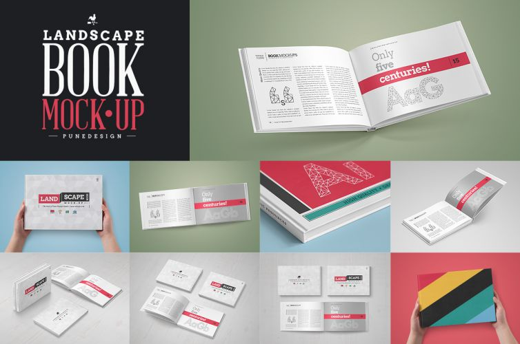 Landscape Book Mock-Up Set