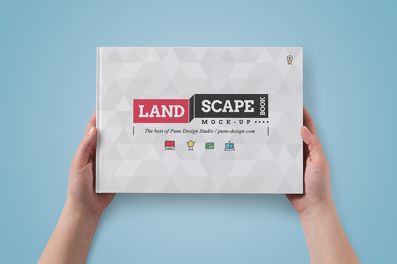 Landscape Book Mock-Up Set - Pune Design