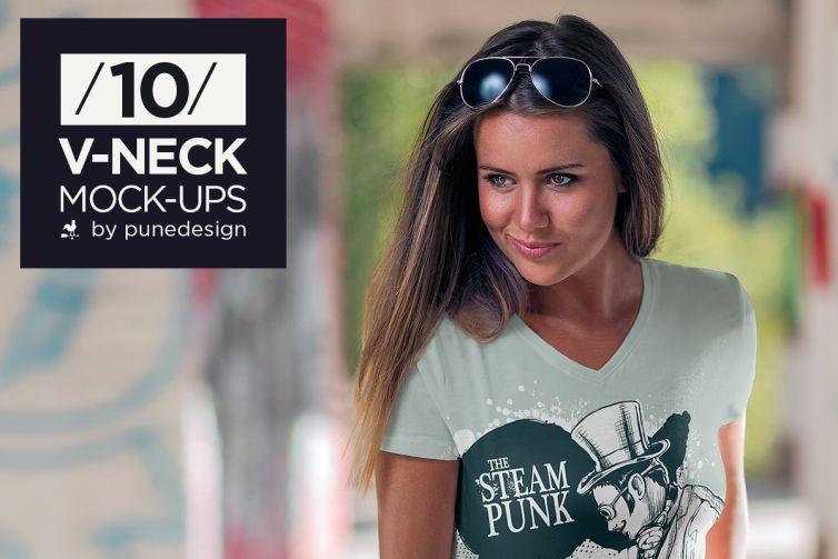 V-Neck T-Shirt Mock-Up